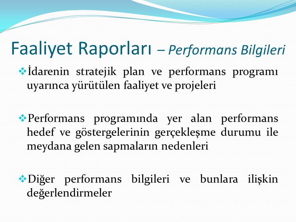 Faaliyet Raporları – Performans Bilgileri