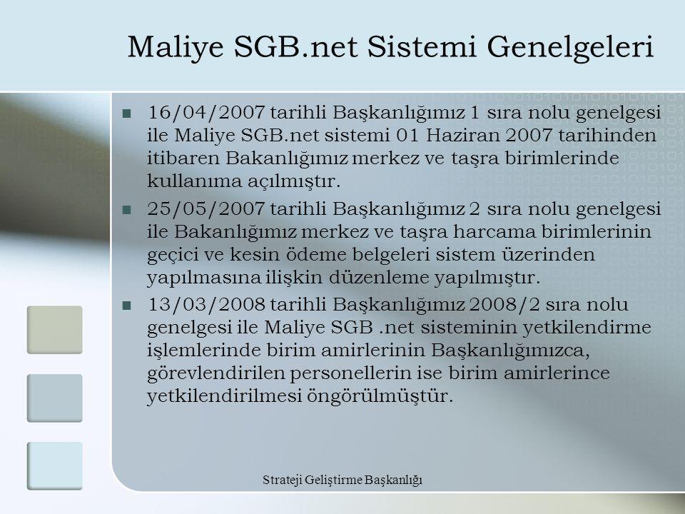 Maliye SGB.net Sistemi Genelgeleri