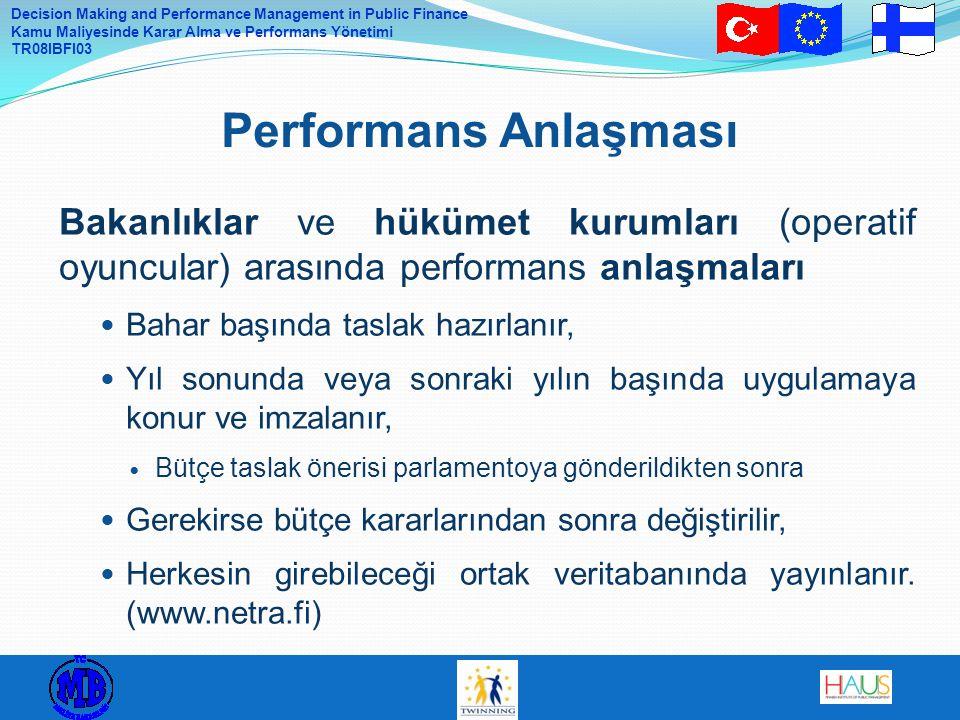 Performans Anlaşması Bakanlıklar ve hükümet kurumları (operatif oyuncular) arasında performans anlaşmaları.