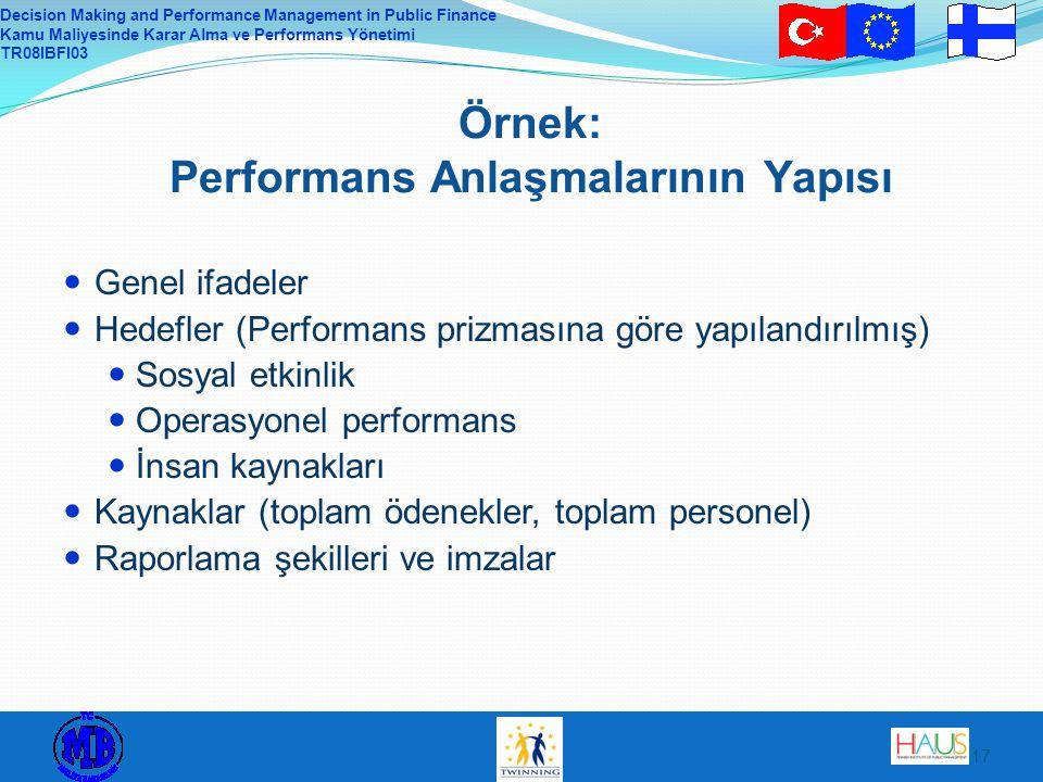 Örnek: Performans Anlaşmalarının Yapısı