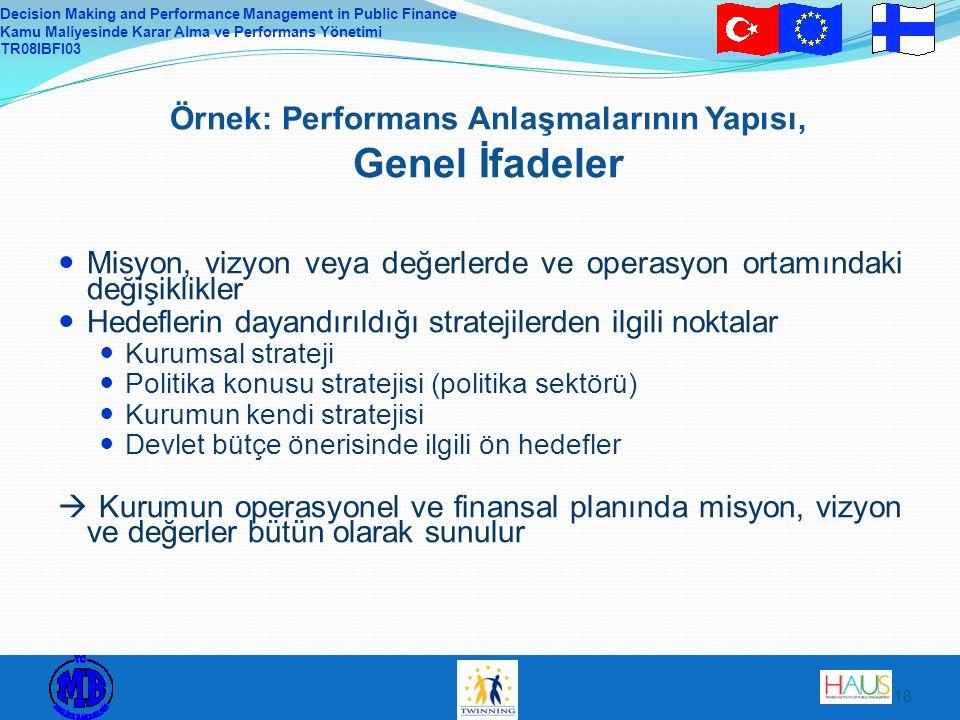 Örnek: Performans Anlaşmalarının Yapısı, Genel İfadeler