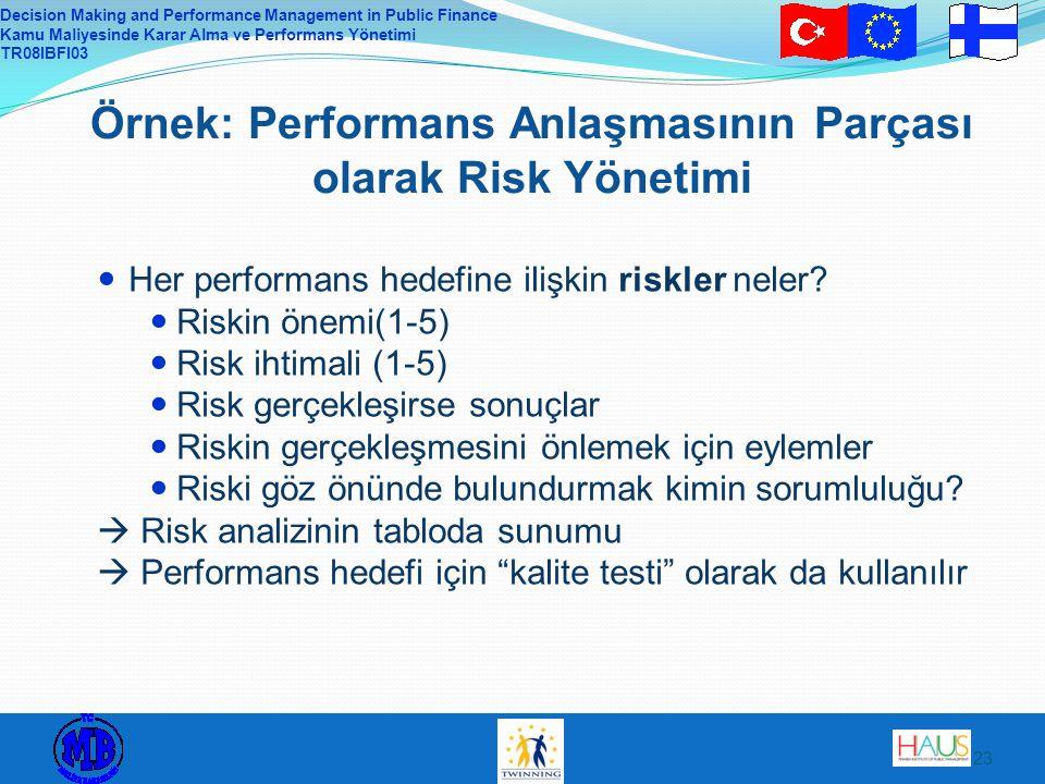 Örnek: Performans Anlaşmasının Parçası olarak Risk Yönetimi