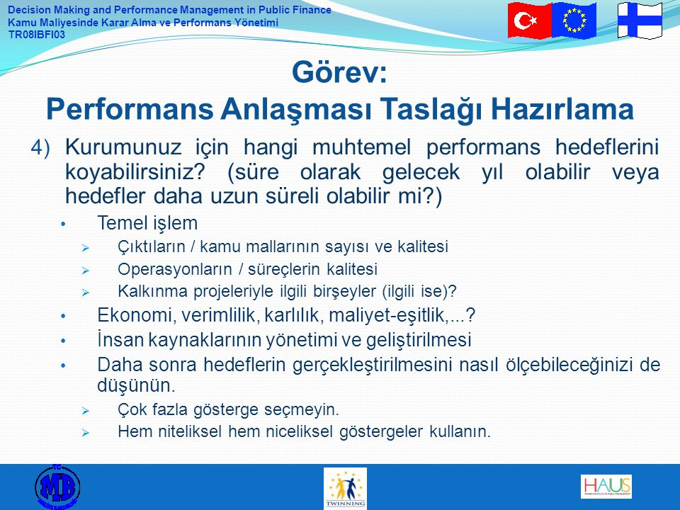 Görev: Performans Anlaşması Taslağı Hazırlama