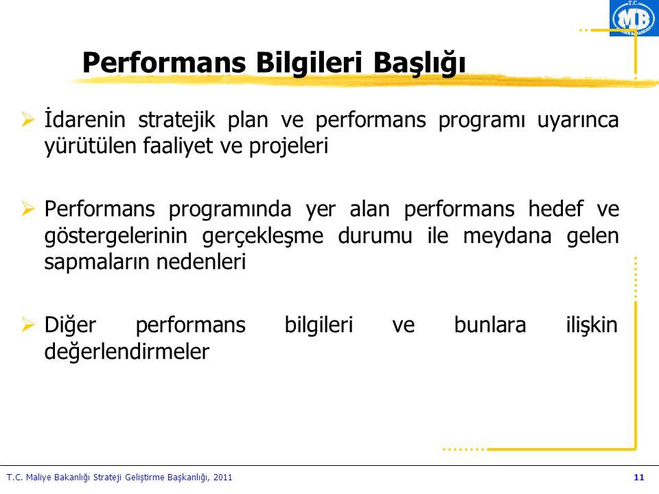 Performans Bilgileri Başlığı