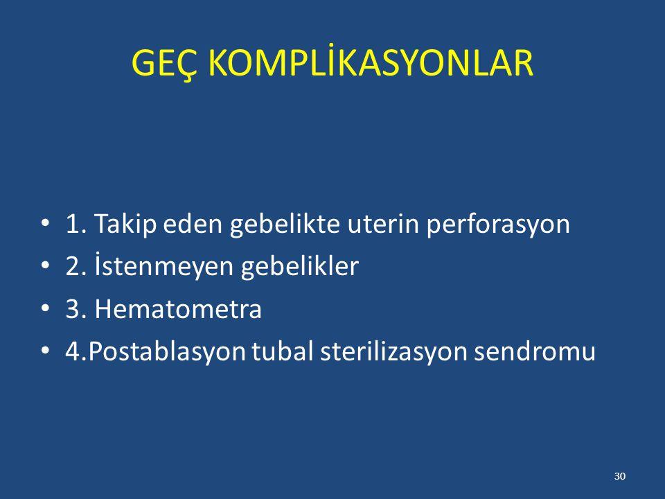 GEÇ KOMPLİKASYONLAR 1. Takip eden gebelikte uterin perforasyon
