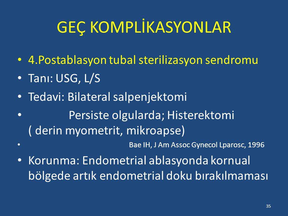 GEÇ KOMPLİKASYONLAR 4.Postablasyon tubal sterilizasyon sendromu