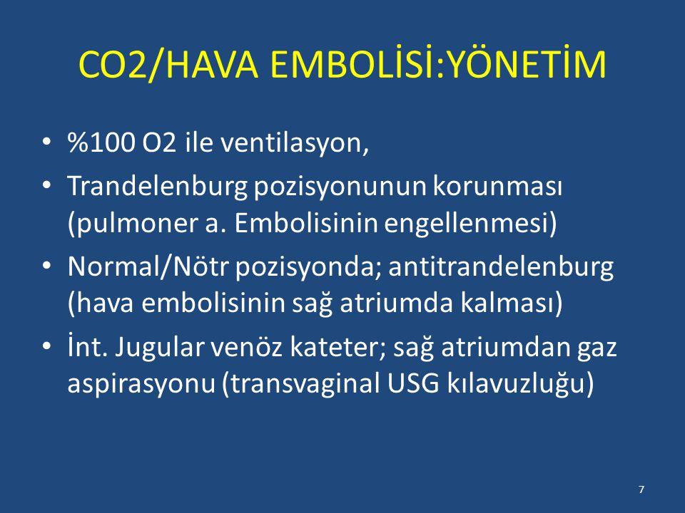CO2/HAVA EMBOLİSİ:YÖNETİM