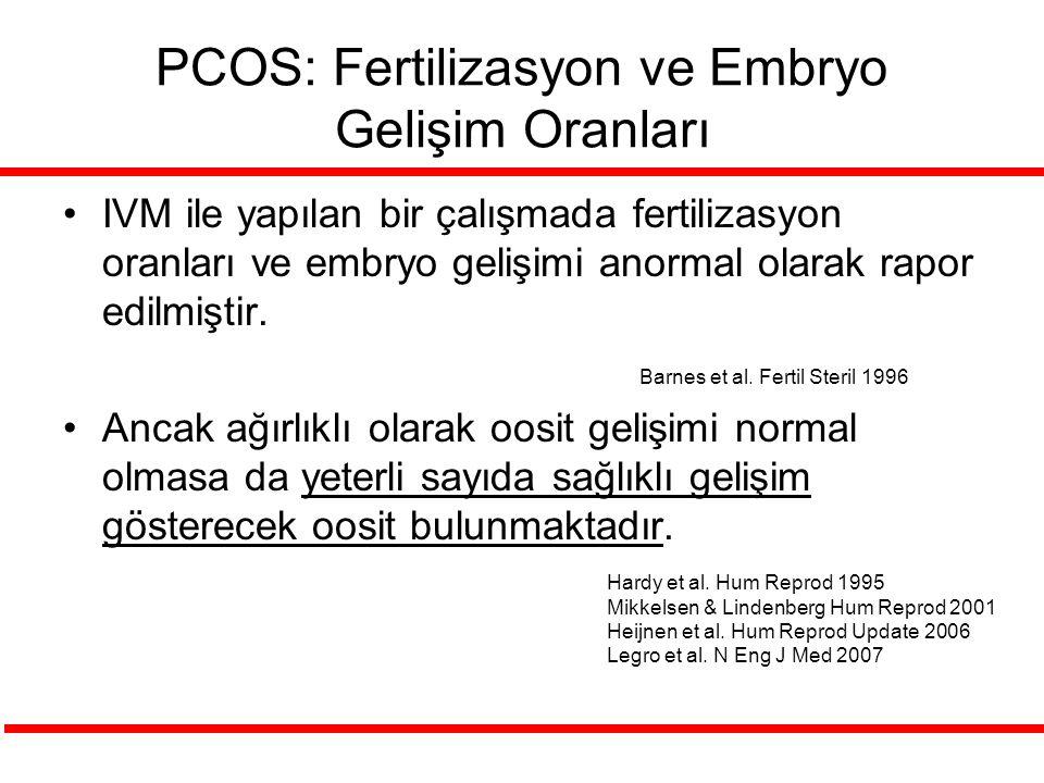 PCOS: Fertilizasyon ve Embryo Gelişim Oranları