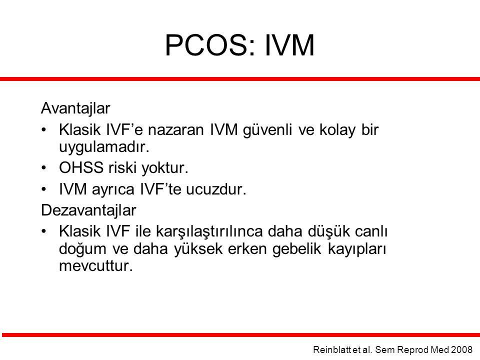 PCOS: IVM Avantajlar. Klasik IVF'e nazaran IVM güvenli ve kolay bir uygulamadır. OHSS riski yoktur.