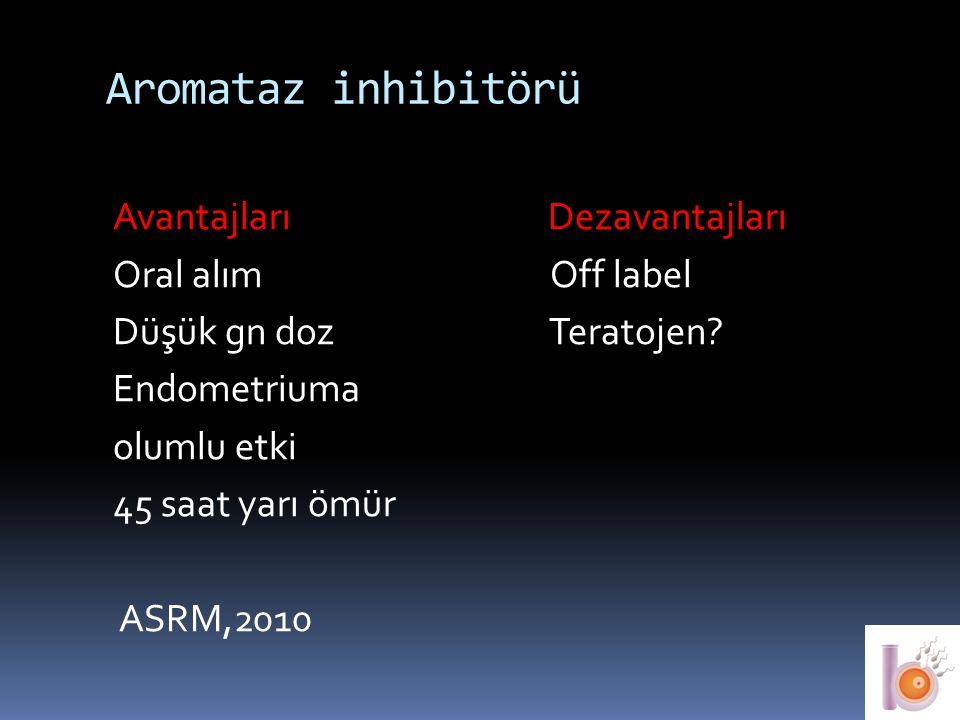 Aromataz inhibitörü Avantajları Dezavantajları Oral alım Off label