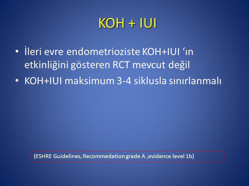 KOH + IUI İleri evre endometrioziste KOH+IUI 'ın etkinliğini gösteren RCT mevcut değil. KOH+IUI maksimum 3-4 siklusla sınırlanmalı.