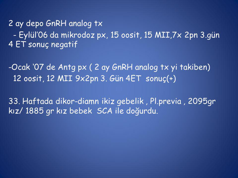 2 ay depo GnRH analog tx - Eylül'06 da mikrodoz px, 15 oosit, 15 MII,7x 2pn 3.gün 4 ET sonuç negatif.