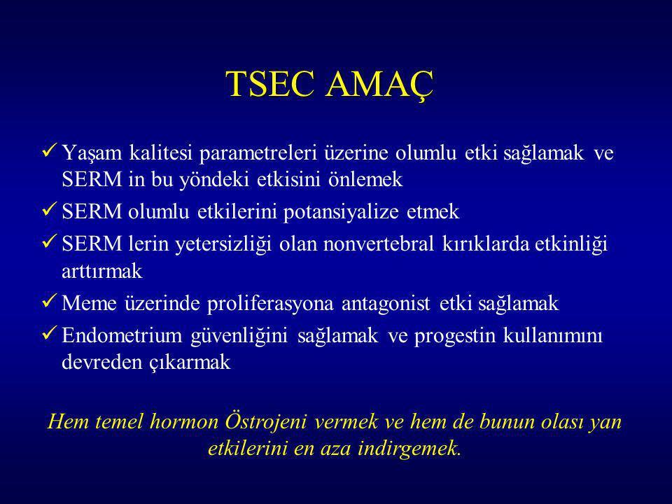TSEC AMAÇ Yaşam kalitesi parametreleri üzerine olumlu etki sağlamak ve SERM in bu yöndeki etkisini önlemek.