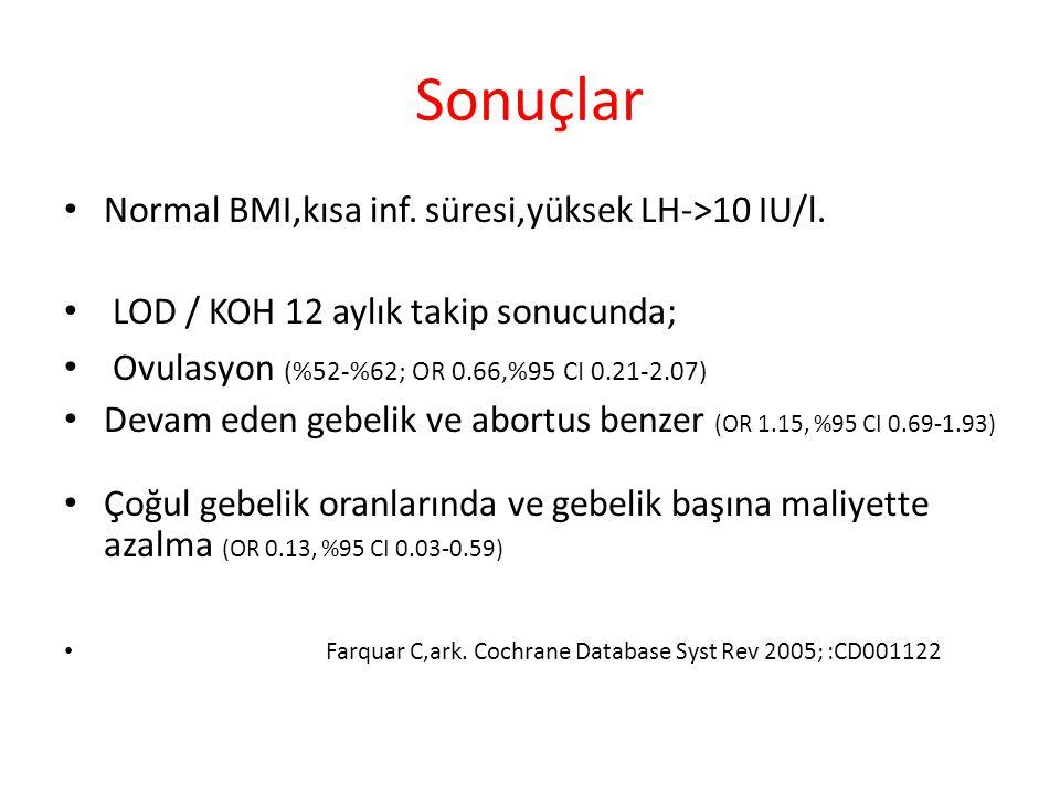 Sonuçlar Normal BMI,kısa inf. süresi,yüksek LH->10 IU/l.