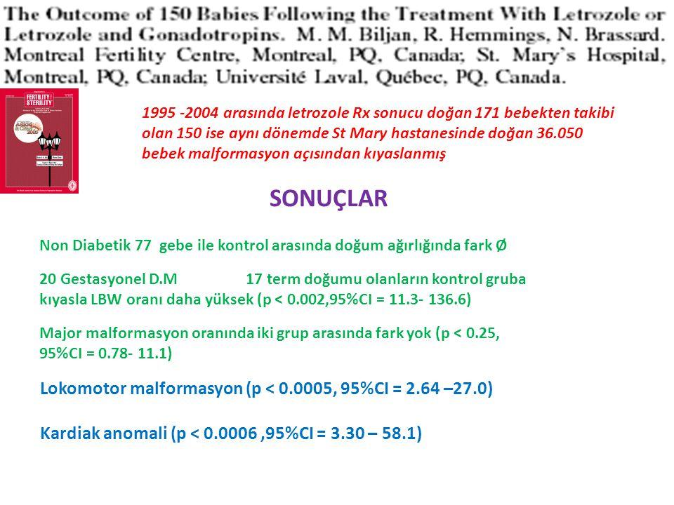 SONUÇLAR Lokomotor malformasyon (p < 0.0005, 95%CI = 2.64 –27.0)