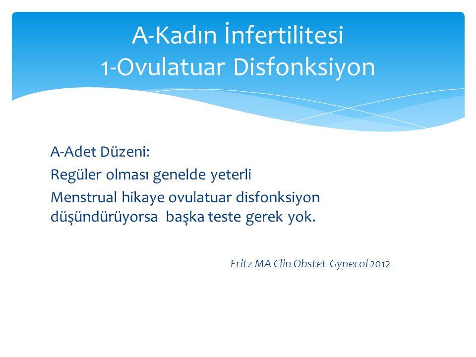 A-Kadın İnfertilitesi 1-Ovulatuar Disfonksiyon