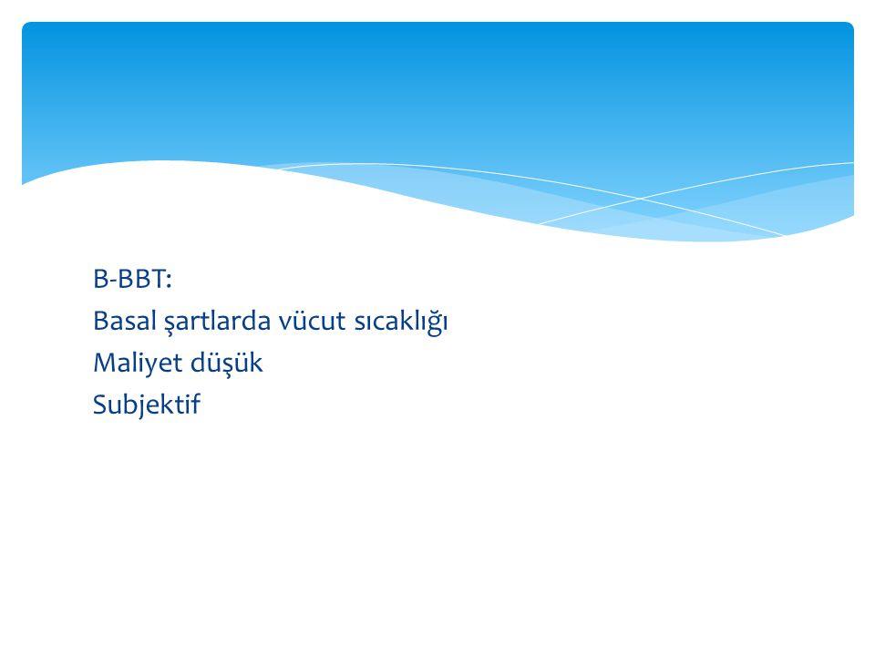 B-BBT: Basal şartlarda vücut sıcaklığı Maliyet düşük Subjektif