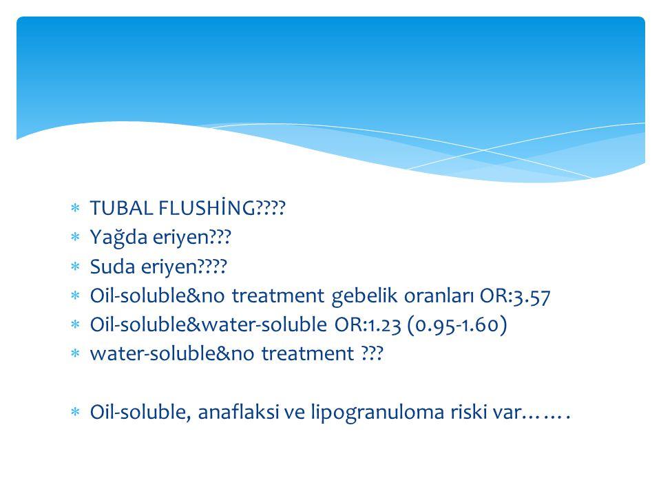 TUBAL FLUSHİNG Yağda eriyen Suda eriyen Oil-soluble&no treatment gebelik oranları OR:3.57.