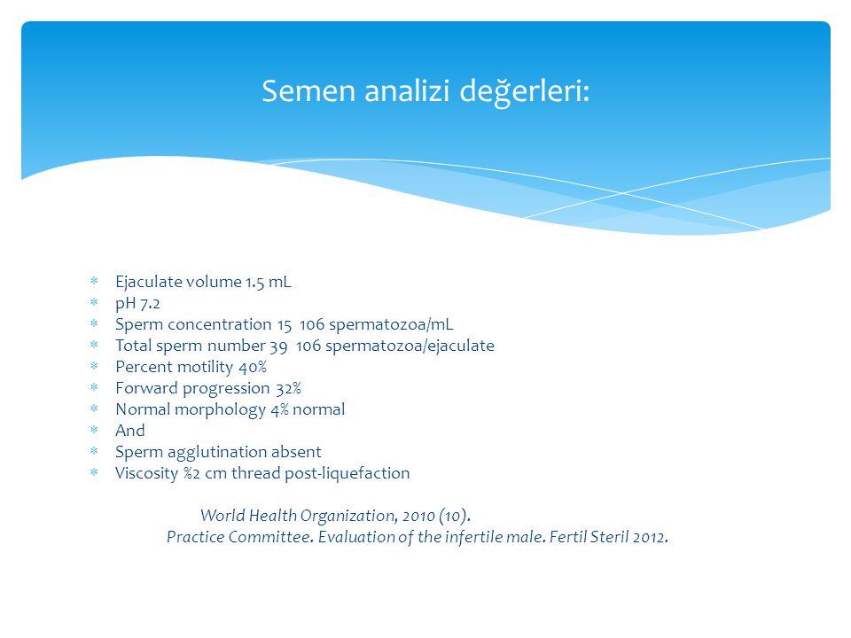 Semen analizi değerleri: