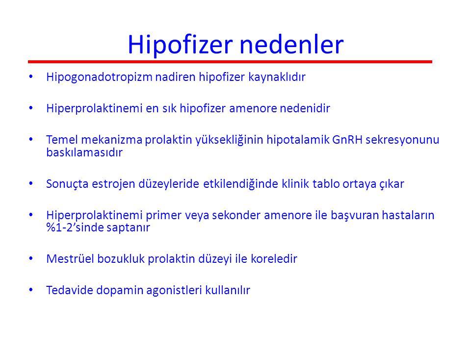 Hipofizer nedenler Hipogonadotropizm nadiren hipofizer kaynaklıdır