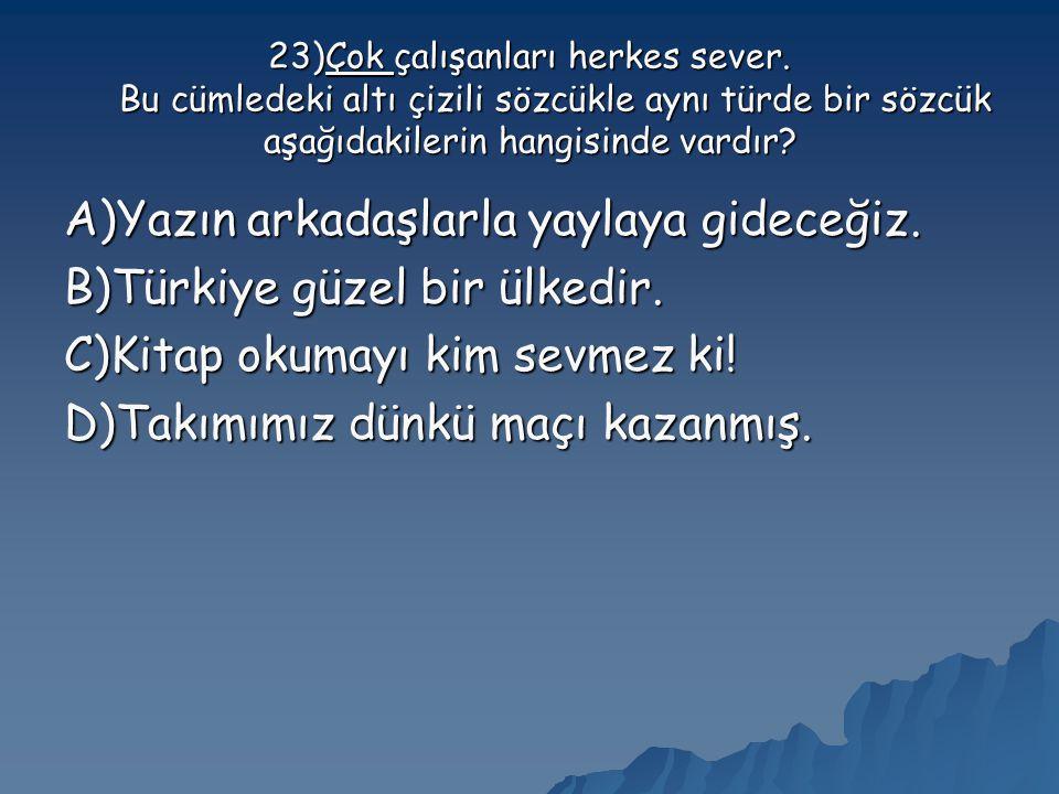 A)Yazın arkadaşlarla yaylaya gideceğiz. B)Türkiye güzel bir ülkedir.