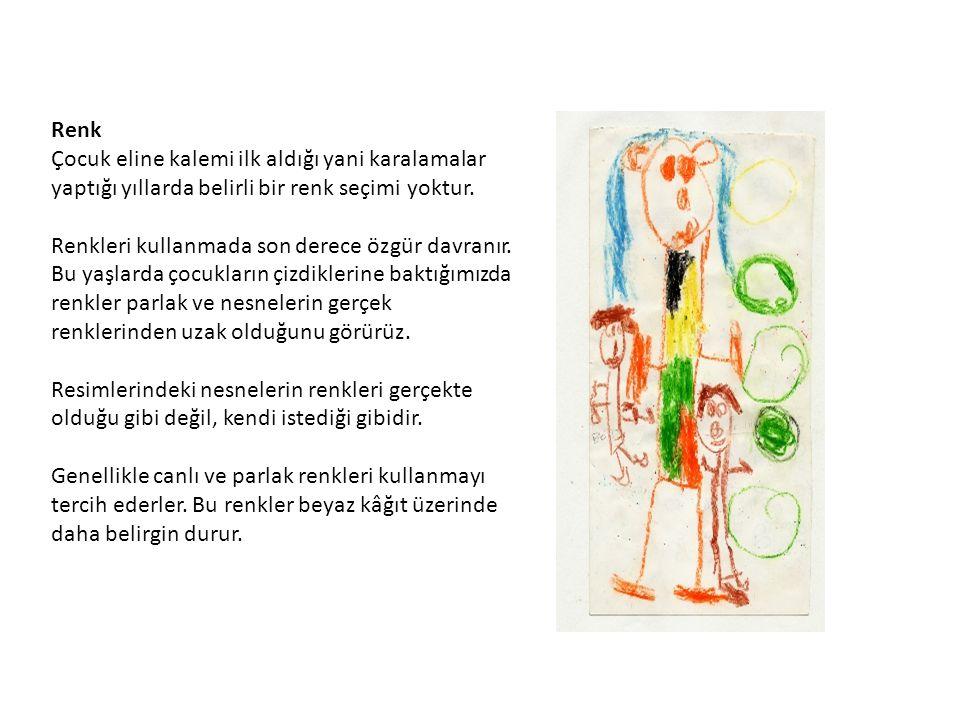 Renk Çocuk eline kalemi ilk aldığı yani karalamalar yaptığı yıllarda belirli bir renk seçimi yoktur.