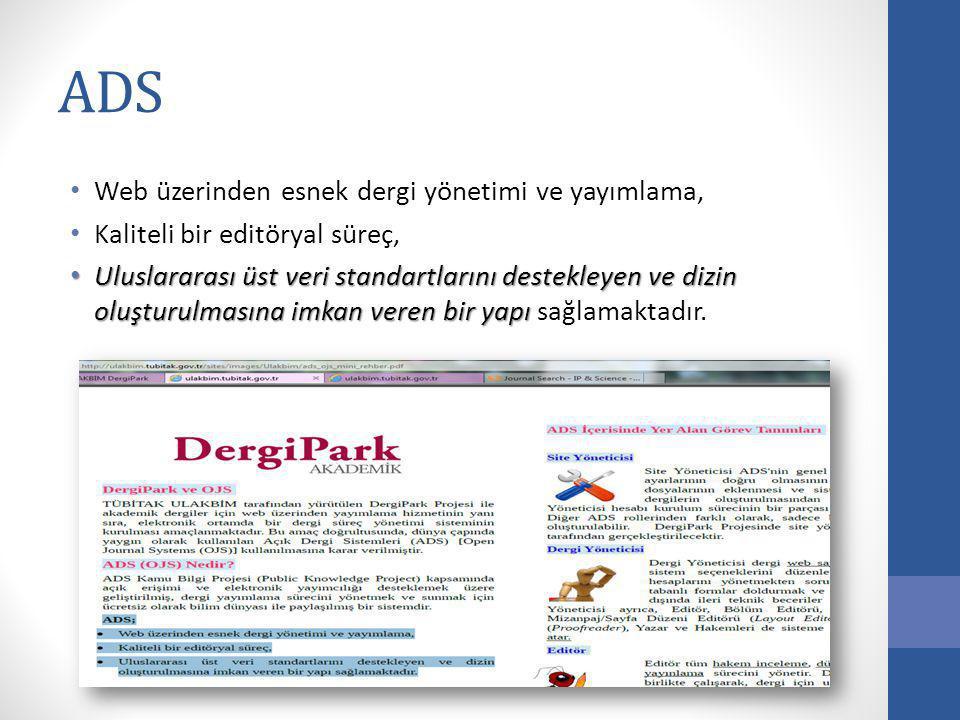 ADS Web üzerinden esnek dergi yönetimi ve yayımlama,