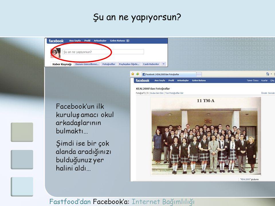 Şu an ne yapıyorsun Facebook'un ilk kuruluş amacı okul arkadaşlarının bulmaktı… Şimdi ise bir çok alanda aradığınızı bulduğunuz yer halini aldı…