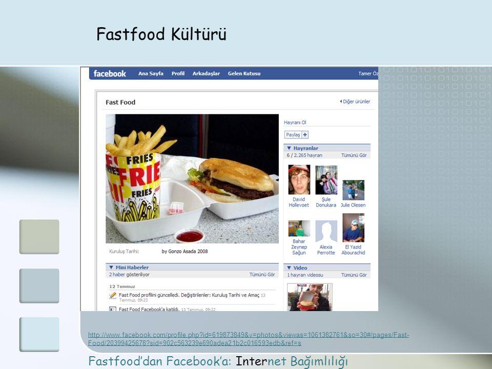 Fastfood Kültürü Fastfood'dan Facebook'a: Internet Bağımlılığı