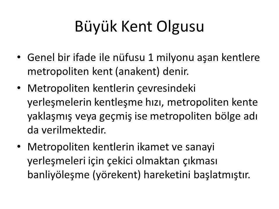 Büyük Kent Olgusu Genel bir ifade ile nüfusu 1 milyonu aşan kentlere metropoliten kent (anakent) denir.