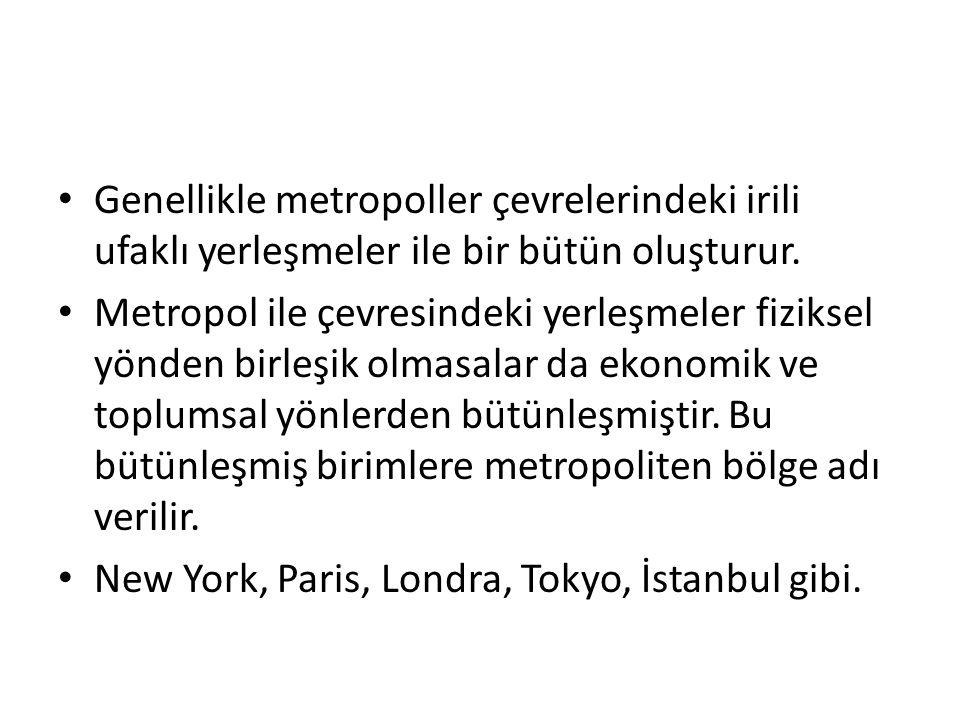 Genellikle metropoller çevrelerindeki irili ufaklı yerleşmeler ile bir bütün oluşturur.
