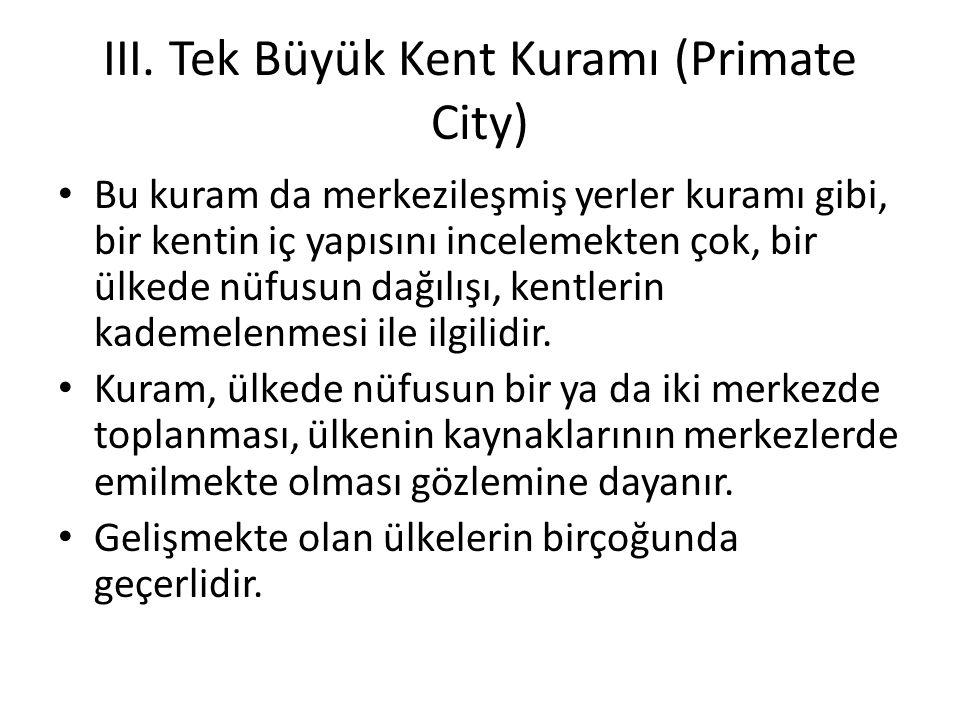 III. Tek Büyük Kent Kuramı (Primate City)