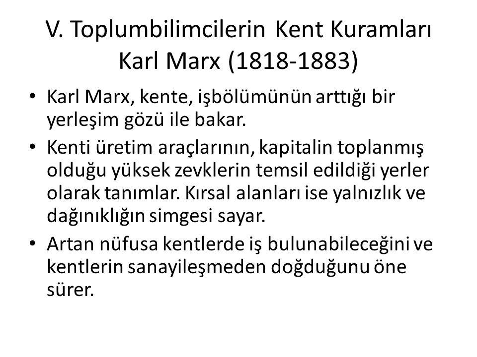 V. Toplumbilimcilerin Kent Kuramları Karl Marx (1818-1883)