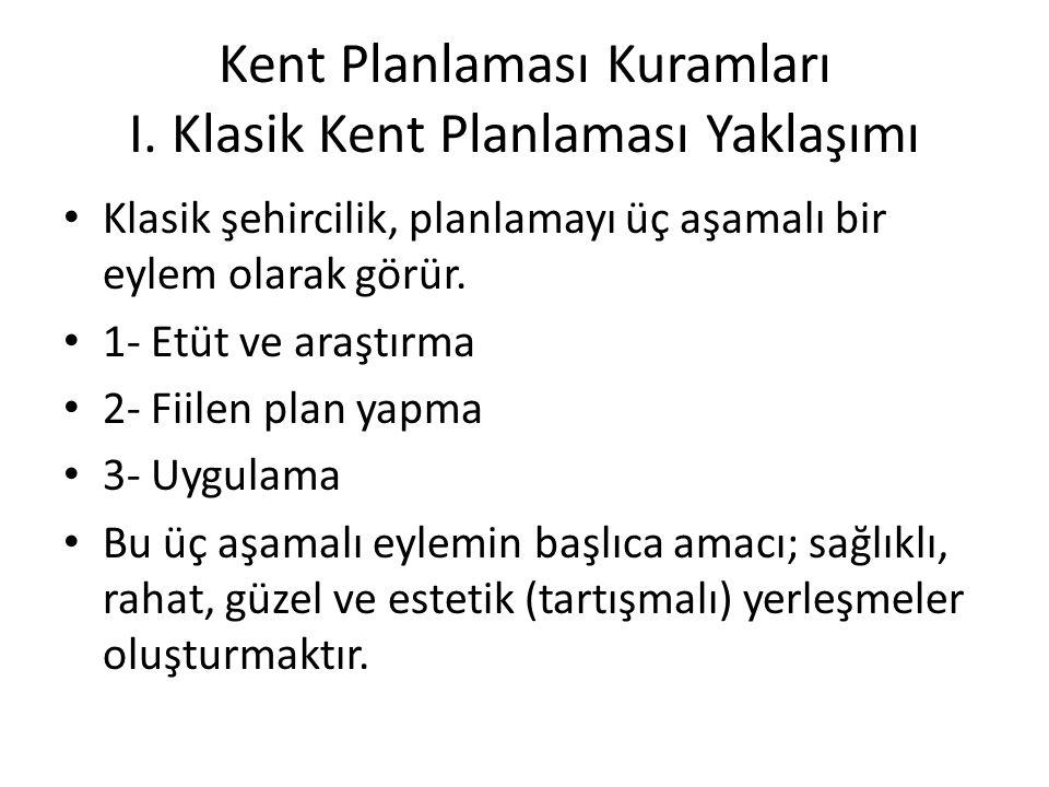 Kent Planlaması Kuramları I. Klasik Kent Planlaması Yaklaşımı
