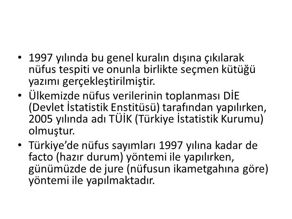 1997 yılında bu genel kuralın dışına çıkılarak nüfus tespiti ve onunla birlikte seçmen kütüğü yazımı gerçekleştirilmiştir.