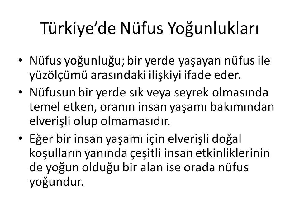 Türkiye'de Nüfus Yoğunlukları
