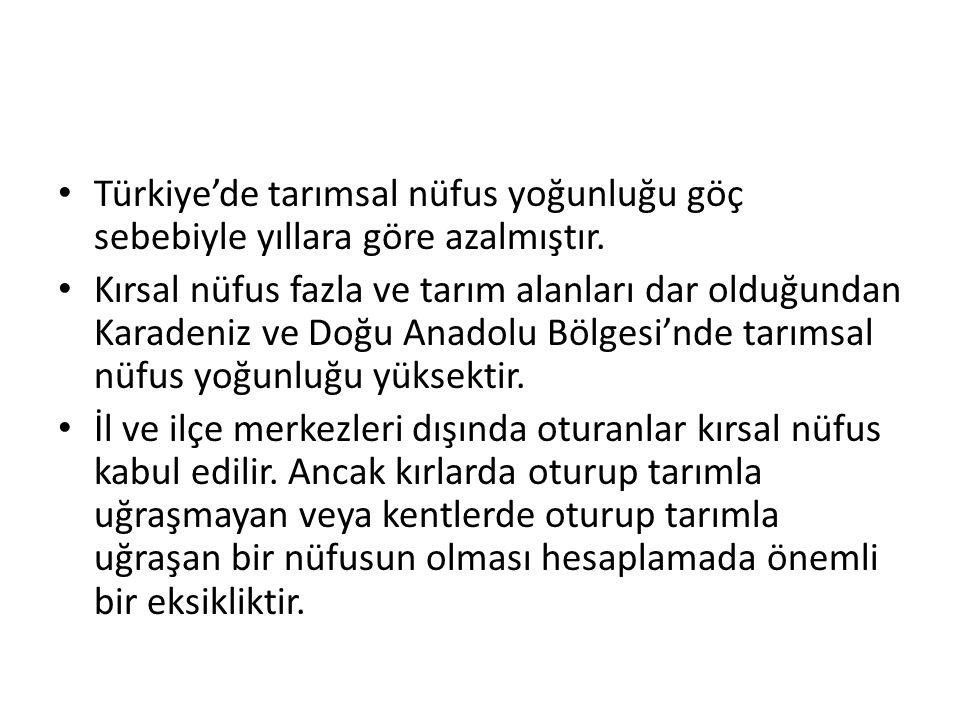 Türkiye'de tarımsal nüfus yoğunluğu göç sebebiyle yıllara göre azalmıştır.