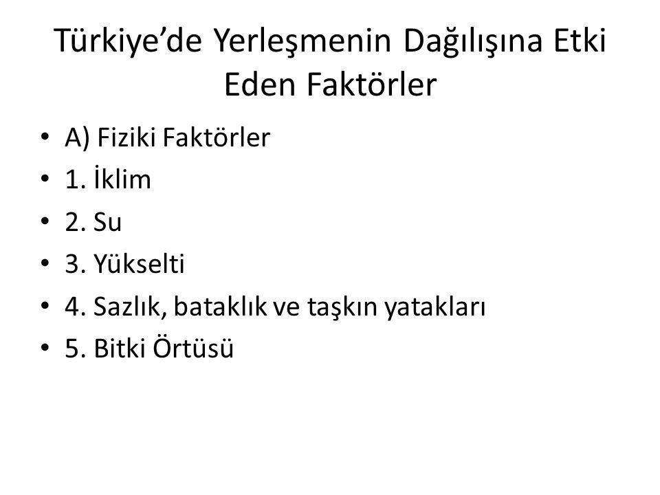 Türkiye'de Yerleşmenin Dağılışına Etki Eden Faktörler