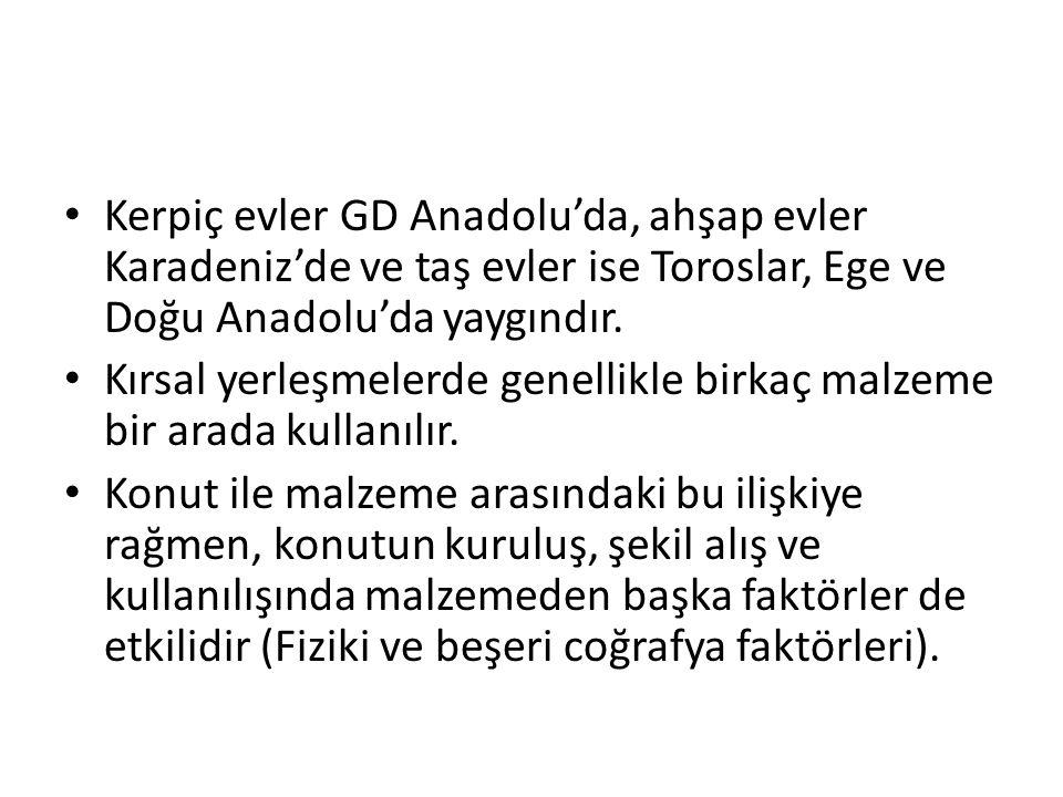 Kerpiç evler GD Anadolu'da, ahşap evler Karadeniz'de ve taş evler ise Toroslar, Ege ve Doğu Anadolu'da yaygındır.
