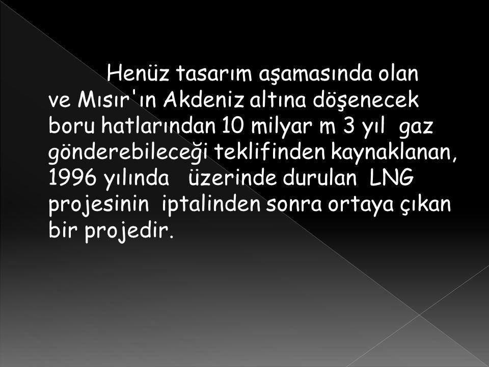 Henüz tasarım aşamasında olan ve Mısır ın Akdeniz altına döşenecek boru hatlarından 10 milyar m 3 yıl gaz gönderebileceği teklifinden kaynaklanan, 1996 yılında üzerinde durulan LNG projesinin iptalinden sonra ortaya çıkan bir projedir.