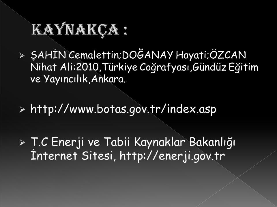 KAYNAKÇA : http://www.botas.gov.tr/index.asp