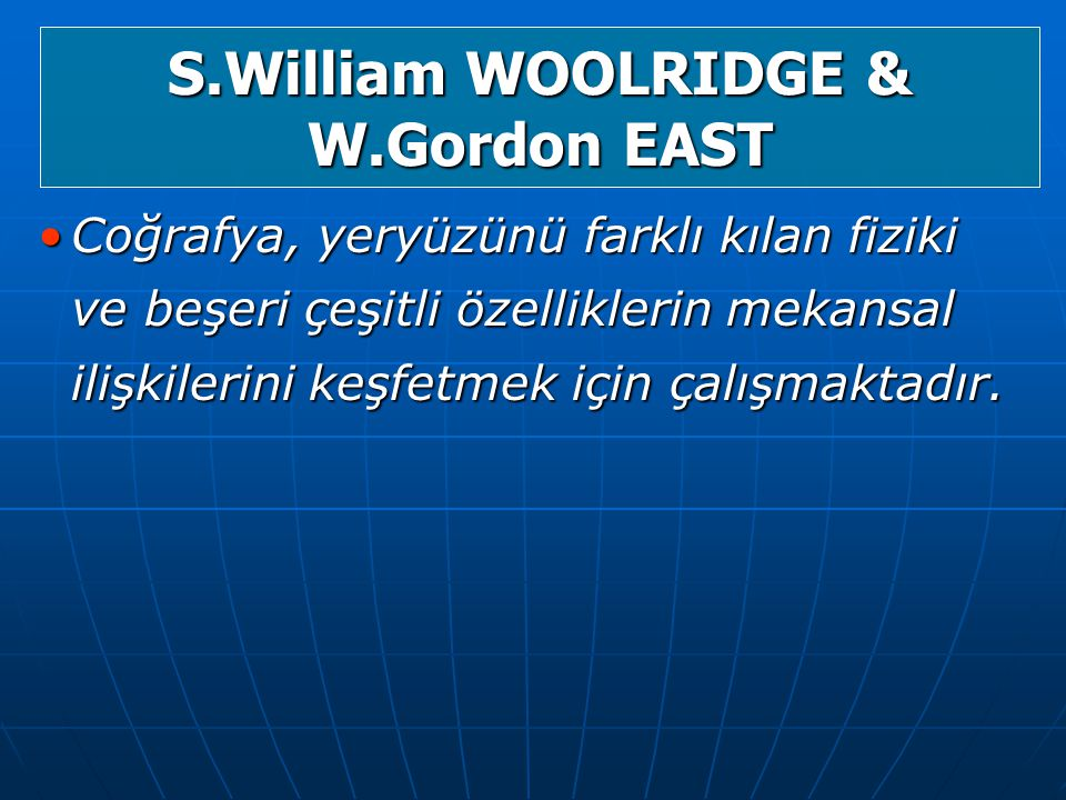 S.William WOOLRIDGE & W.Gordon EAST