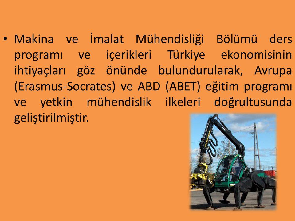 Makina ve İmalat Mühendisliği Bölümü ders programı ve içerikleri Türkiye ekonomisinin ihtiyaçları göz önünde bulundurularak, Avrupa (Erasmus-Socrates) ve ABD (ABET) eğitim programı ve yetkin mühendislik ilkeleri doğrultusunda geliştirilmiştir.