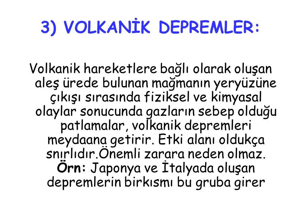 3) VOLKANİK DEPREMLER: