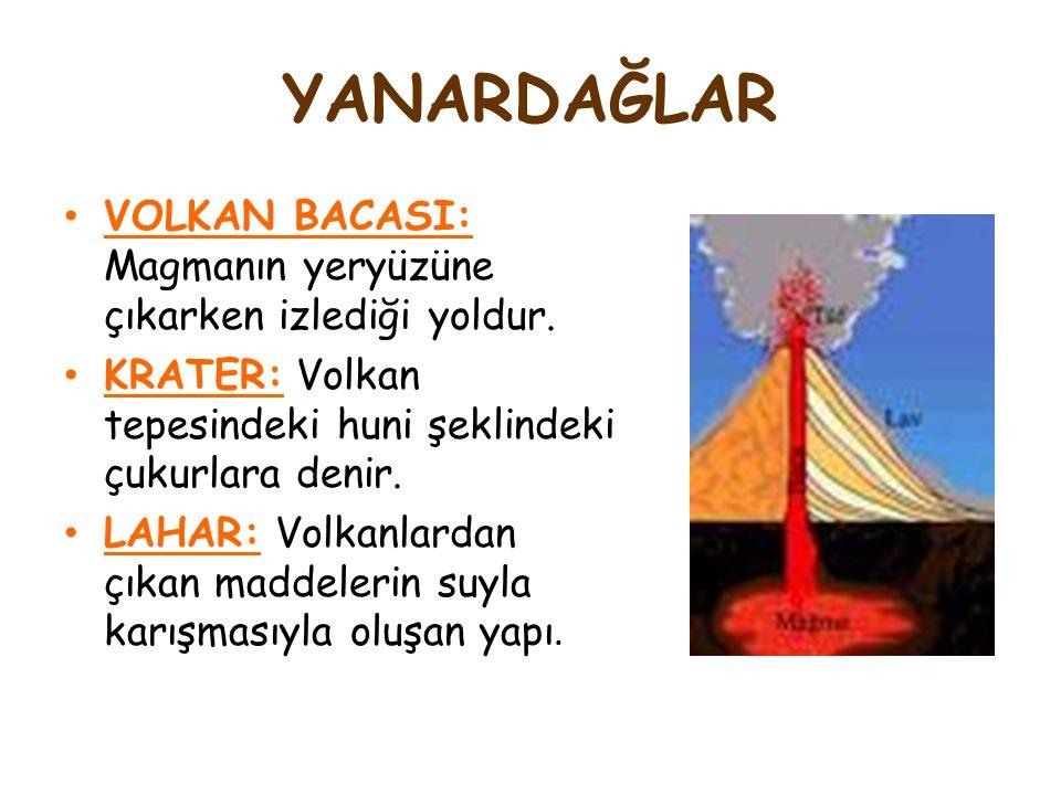 YANARDAĞLAR VOLKAN BACASI: Magmanın yeryüzüne çıkarken izlediği yoldur. KRATER: Volkan tepesindeki huni şeklindeki çukurlara denir.