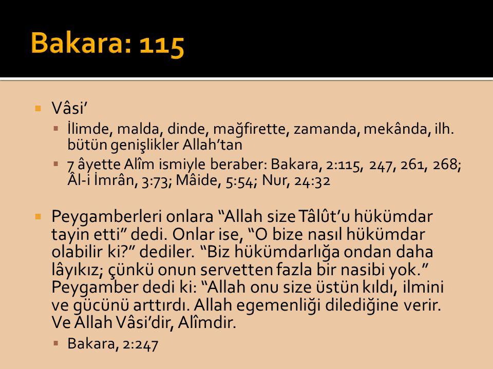 Bakara: 115 Vâsi' İlimde, malda, dinde, mağfirette, zamanda, mekânda, ilh. bütün genişlikler Allah'tan.