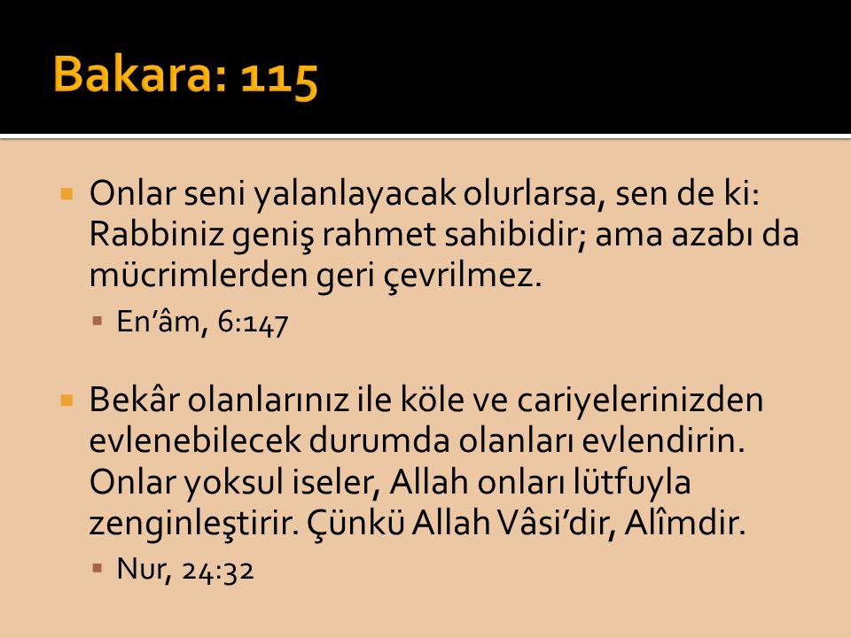 Bakara: 115 Onlar seni yalanlayacak olurlarsa, sen de ki: Rabbiniz geniş rahmet sahibidir; ama azabı da mücrimlerden geri çevrilmez.
