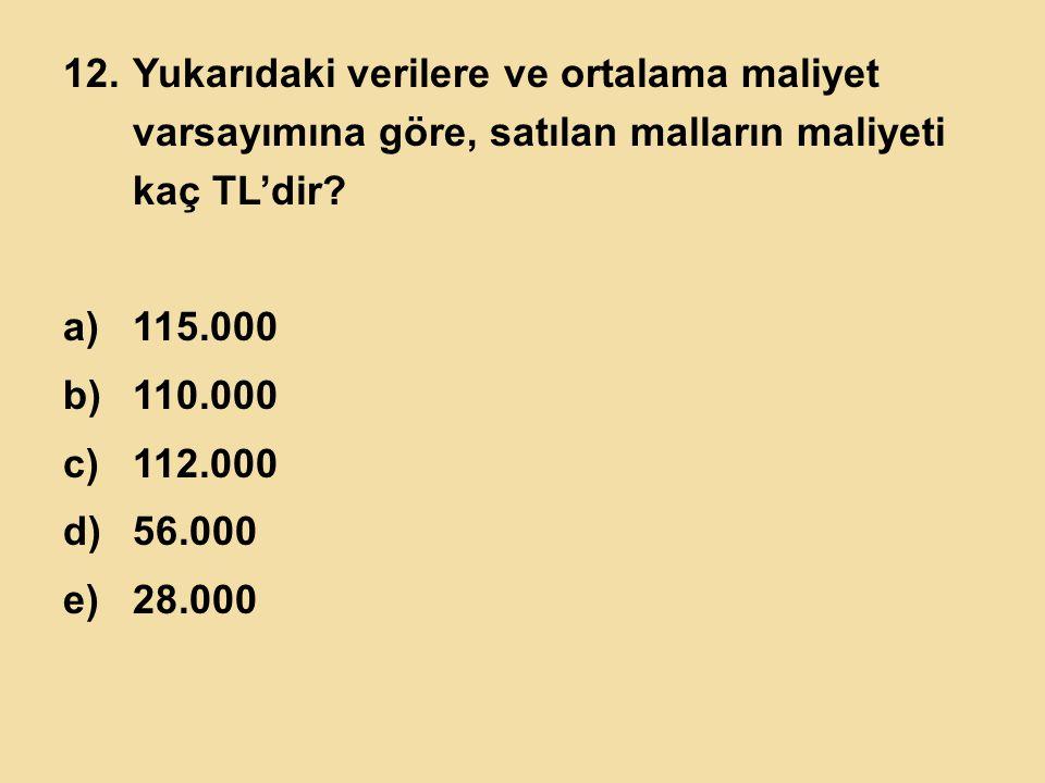 Yukarıdaki verilere ve ortalama maliyet varsayımına göre, satılan malların maliyeti kaç TL'dir