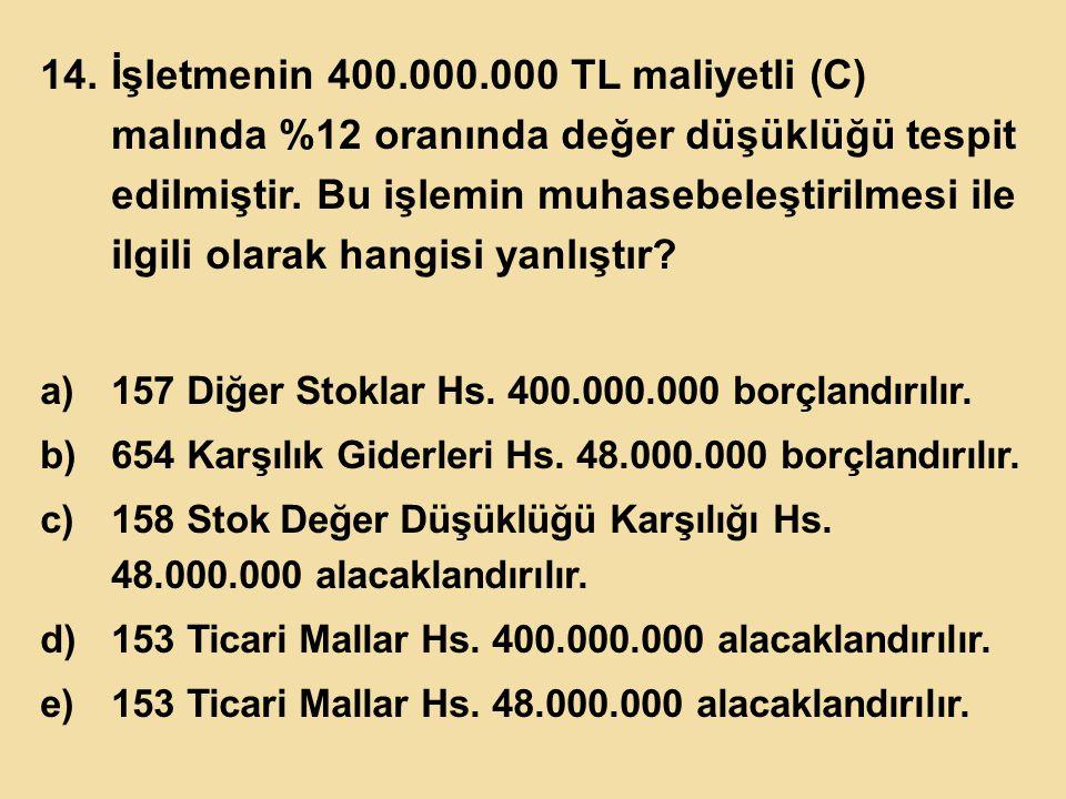 İşletmenin 400.000.000 TL maliyetli (C) malında %12 oranında değer düşüklüğü tespit edilmiştir. Bu işlemin muhasebeleştirilmesi ile ilgili olarak hangisi yanlıştır