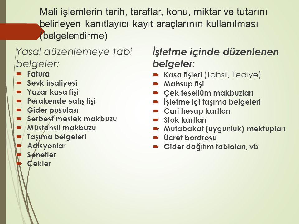 Yasal düzenlemeye tabi belgeler: İşletme içinde düzenlenen belgeler: